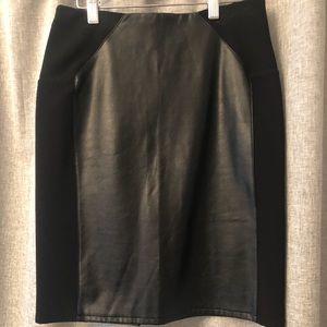 H&M black faux leather sassy skirt